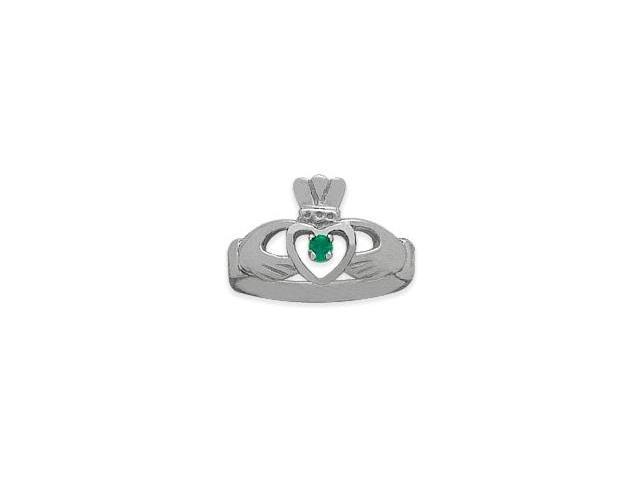 Ladies 10 Karat White Gold Peridot Claddagh Ring - 7.25