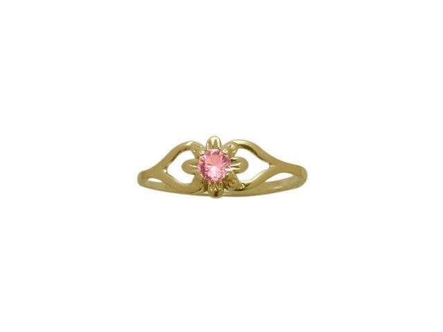 14 Karat Yellow Gold Created Tourmaline Flower Solitaire Baby Ring - SIZE 2