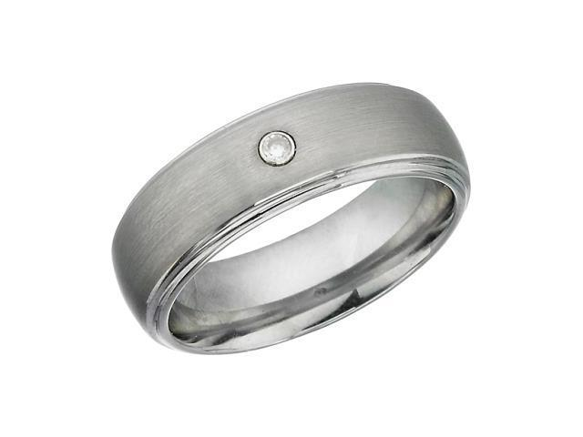 7mm Tungsten Carbide & Cubic Zirconia Comfort Fit Ring - 12