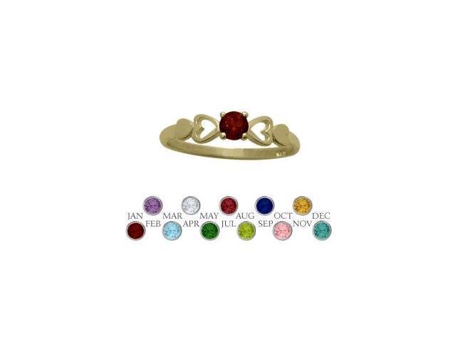 14 Karat Yellow Gold Genuine Garnet  Round Shape Baby Ring - SIZE 4