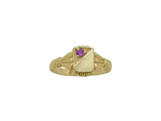 14 Karat Yellow Gold Genuine Amethyst Rectangular Gemstone Baby Ring - SIZE 4