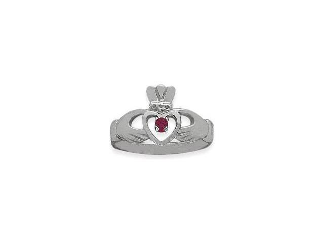 Ladies 10 Karat White Gold Ruby Claddagh Ring - 6.75