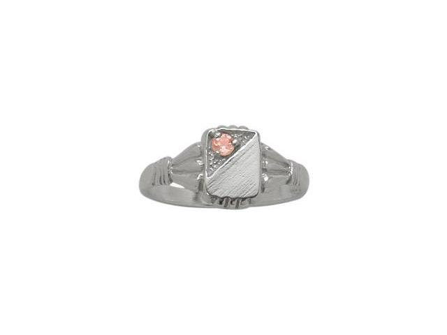 10 Karat White Gold Created Tourmaline Rectangular Gemstone Baby Ring - SIZE 3