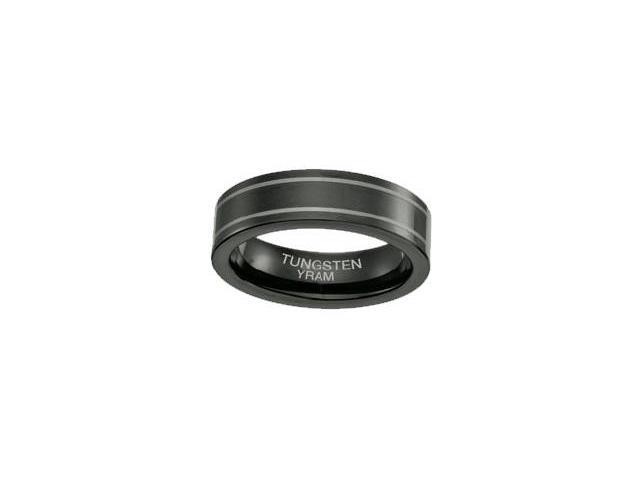 Black Tungsten Double Line 6mm Ring - Size 6.5