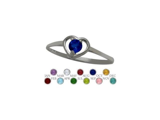 10 Karat White Gold Created Sapphire Solitaire Gem Round Shape Baby Ring - SIZE 2