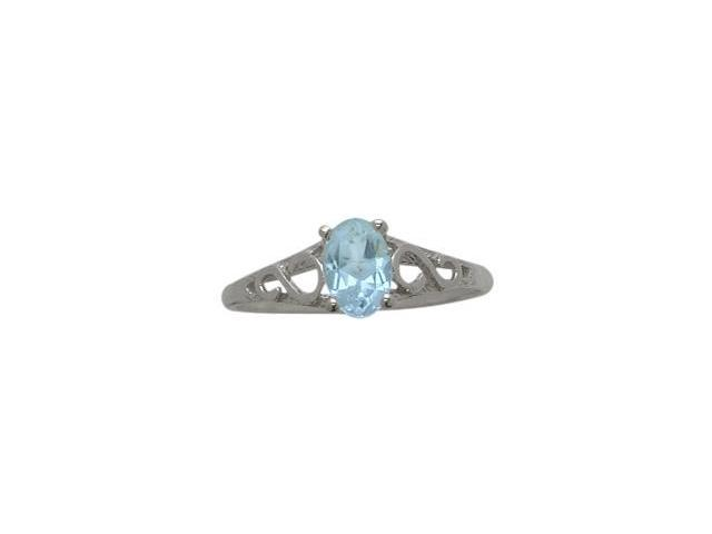 10 Karat White Gold Genuine Blue Topaz Oval Gemstone Baby Ring - SIZE 2