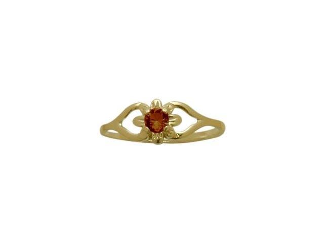 14 Karat Yellow Gold Genuine Garnet Flower Solitaire Baby Ring - SIZE 4