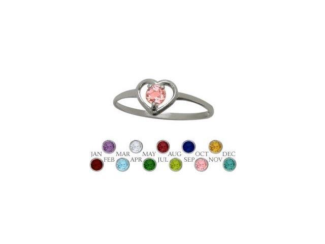 10 Karat White Gold Created Tourmaline Solitaire Gem Round Shape Baby Ring - SIZE 2