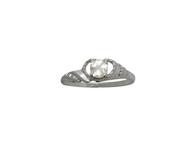 Genuine Sterling Silver Genuine White Topaz Gemstone Baby Ring - SIZE 2