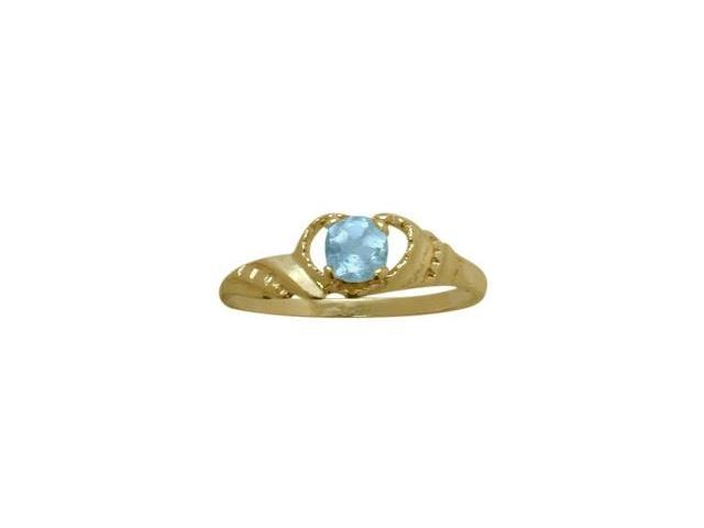 14 Karat Yellow Gold Genuine Blue Topaz Gemstone Baby Ring - SIZE 2