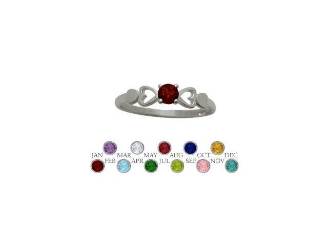 Genuine Sterling Silver Genuine Garnet  Round Shape Baby Ring - SIZE 2