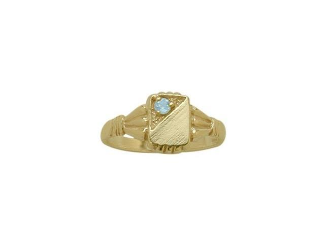 14 Karat Yellow Gold Created Aquamarine Rectangular Gemstone Baby Ring - SIZE 4