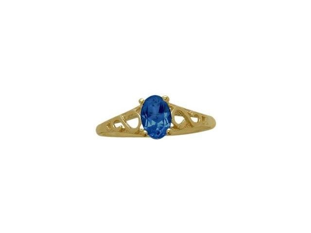 14 Karat Yellow Gold Created Sapphire Oval Gemstone Baby Ring - SIZE 3