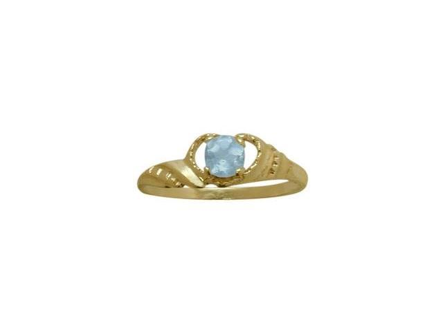 14 Karat Yellow Gold Created Aquamarine Gemstone Baby Ring - SIZE 2