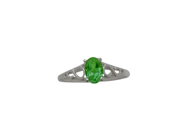 10 Karat White Gold Created Emerald Oval Gemstone Baby Ring - SIZE 2