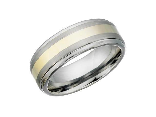 8mm Tungsten Carbide Two-Tone Gold Plated Ring - 12