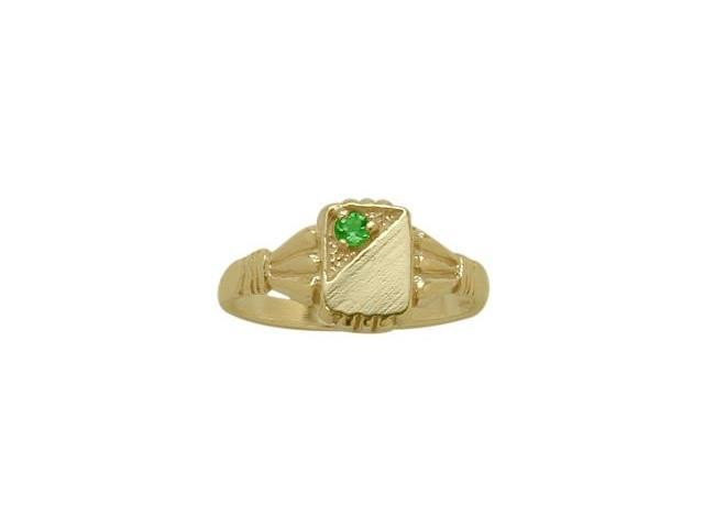 14 Karat Yellow Gold Created Emerald Rectangular Gemstone Baby Ring - SIZE 3