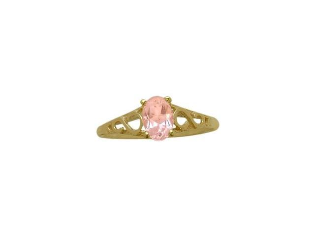 14 Karat Yellow Gold Created Tourmaline Oval Gemstone Baby Ring - SIZE 3