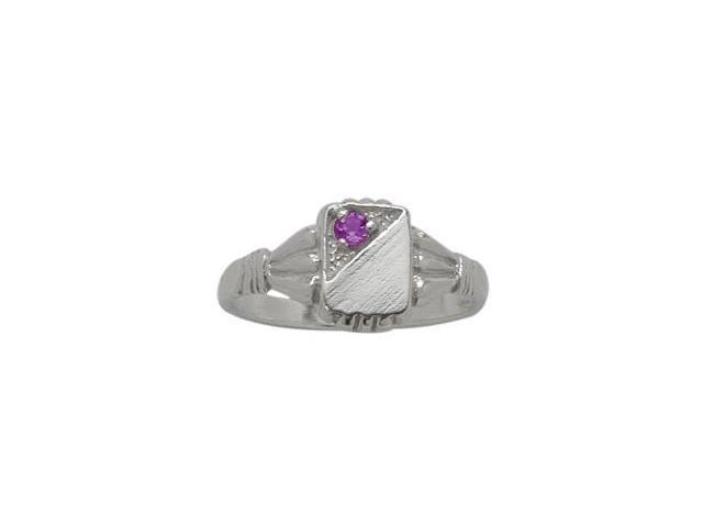Genuine Sterling Silver Genuine Amethyst Rectangular Gemstone Baby Ring - SIZE 3