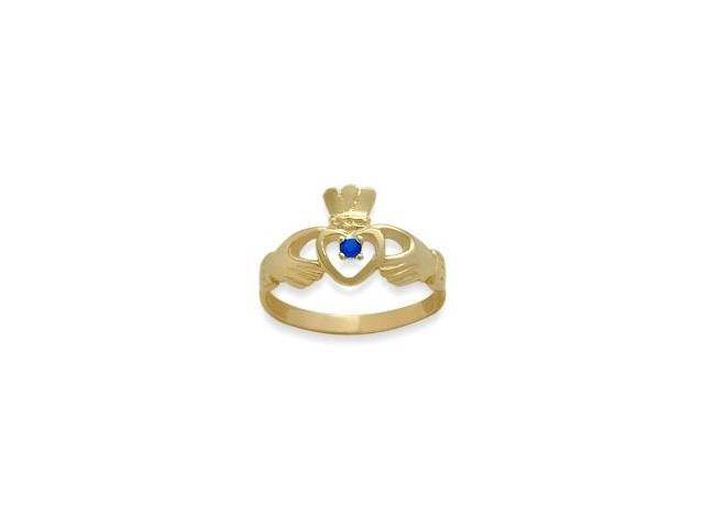 Ladies 10 Karat Yellow Gold Sapphire Claddagh Ring - 7