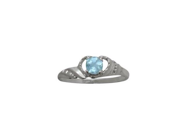 Genuine Sterling Silver Genuine Blue Topaz Gemstone Baby Ring - SIZE 2