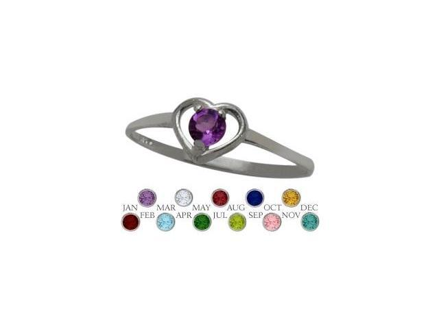 Genuine Sterling Silver Genuine Amethyst Solitaire Gem Round Shape Baby Ring - SIZE 4
