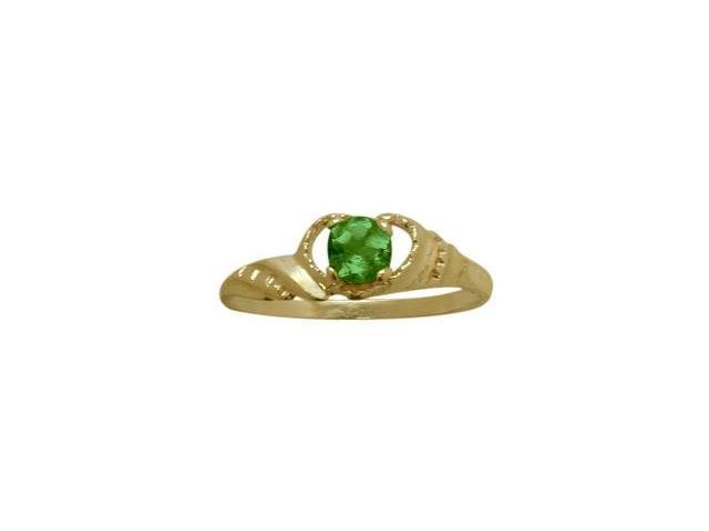 14 Karat Yellow Gold Created Emerald Gemstone Baby Ring - SIZE 4