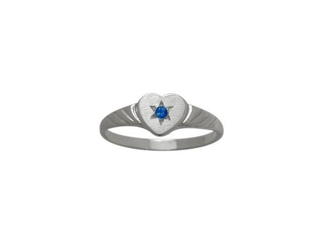 10 Karat White Gold Created Sapphire Heart Solitaire Baby Ring - SIZE 3