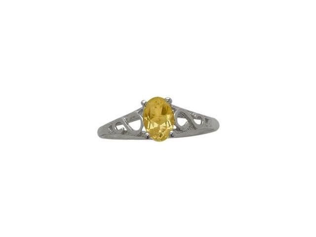 10 Karat White Gold Genuine Citrine Oval Gemstone Baby Ring - SIZE 2