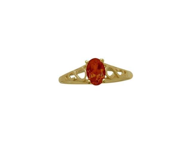 14 Karat Yellow Gold Genuine Garnet Oval Gemstone Baby Ring - SIZE 3