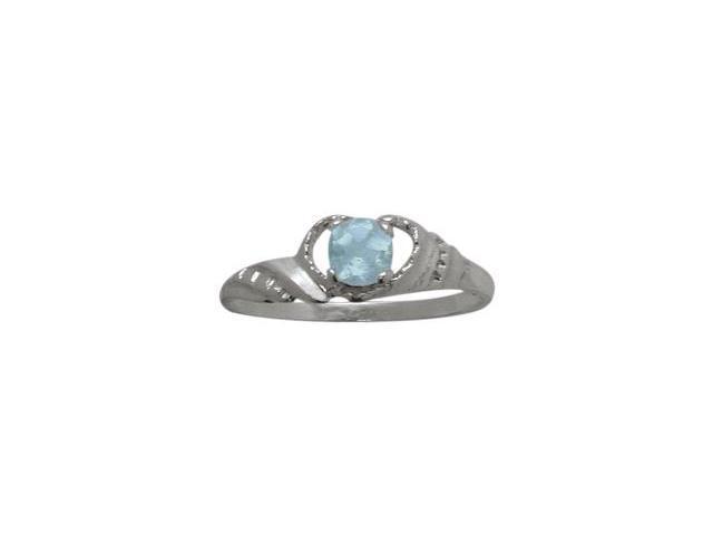 10 Karat White Gold Created Aquamarine Gemstone Baby Ring - SIZE 2