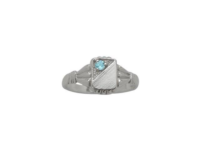 10 Karat White Gold Genuine Blue Topaz Rectangular Gemstone Baby Ring - SIZE 4