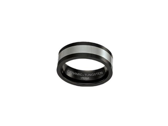 Black Ceramic with Tungsten 8mm Ring - Size 10.5