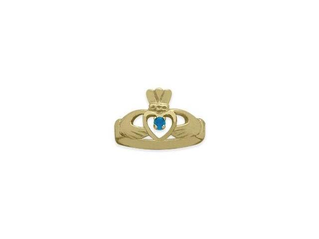 Ladies 10 Karat Yellow Gold Blue Topaz Claddagh Ring - 7.25