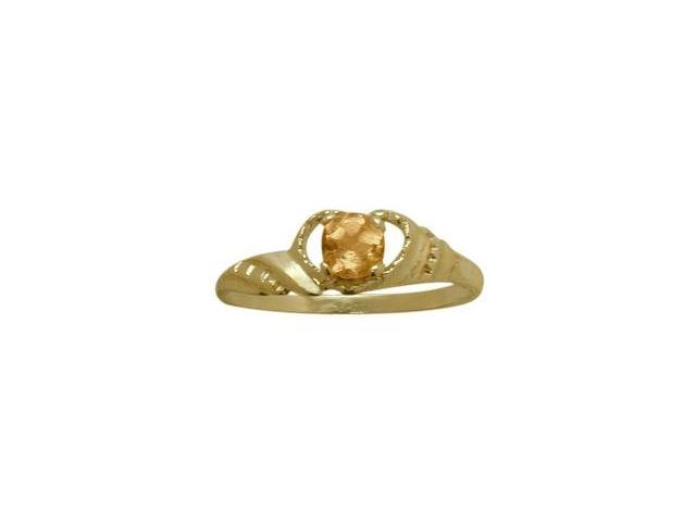 14 Karat Yellow Gold Genuine Citrine Gemstone Baby Ring - SIZE 4