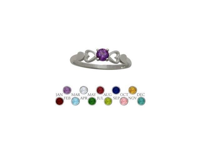 Genuine Sterling Silver Genuine Amethyst  Round Shape Baby Ring - SIZE 4