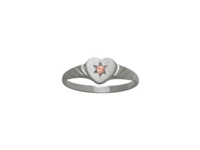 10 Karat White Gold Created Tourmaline Heart Solitaire Baby Ring - SIZE 2
