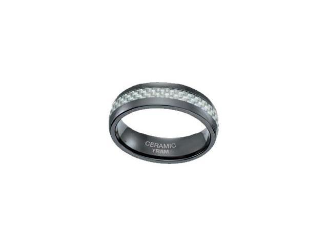 Black Ceramic Carbon Fiber 7mm Ring - Size 12.5