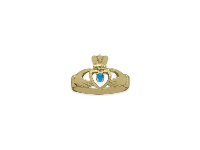 Ladies 10 Karat Yellow Gold Aquamarine Claddagh Ring - 7.5