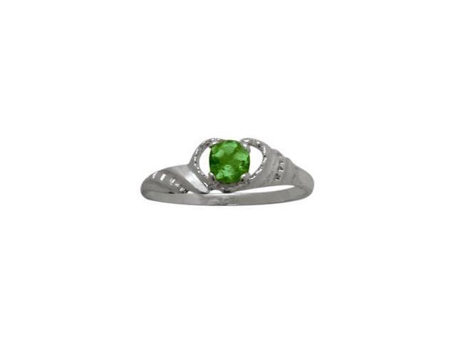 10 Karat White Gold Created Emerald Gemstone Baby Ring - SIZE 2