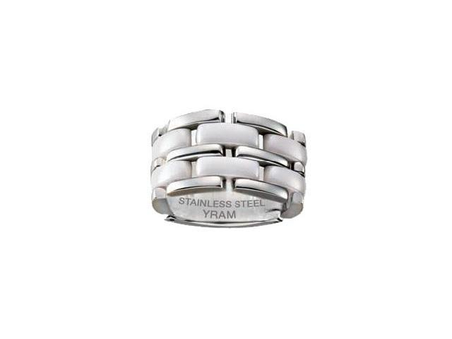 Stainless Steel & White Ceramic 13mm Flex Ring - Size 11.5