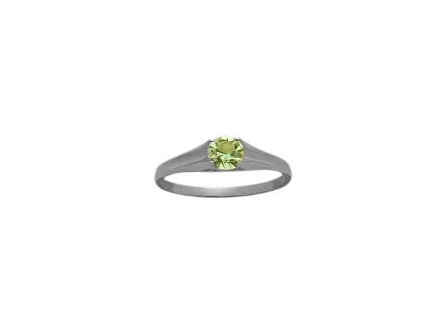 Genuine Sterling Silver Genuine Peridot Solitaire Baby Ring - SIZE 2