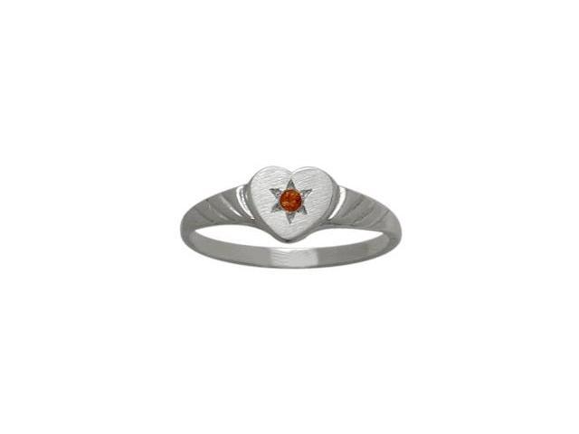 10 Karat White Gold Genuine Garnet Heart Solitaire Baby Ring - SIZE 2