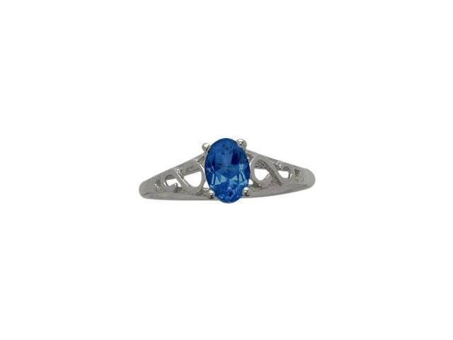 10 Karat White Gold Created Sapphire Oval Gemstone Baby Ring - SIZE 2