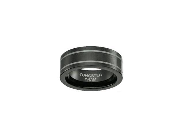 Black Tungsten 7mm Double Line Ring - Size 9