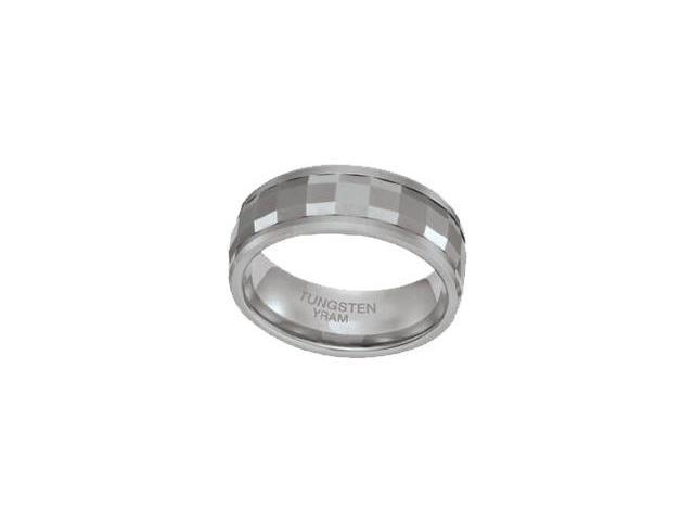 Tungsten 8mm SPINNING Faceted Ring - Size 8
