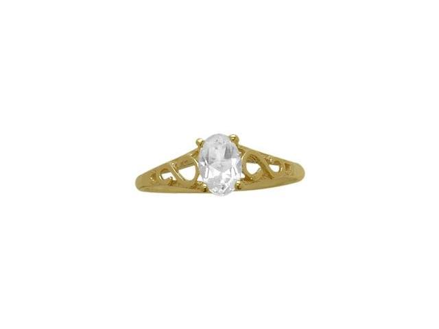 14 Karat Yellow Gold Genuine White Topaz Oval Gemstone Baby Ring - SIZE 4
