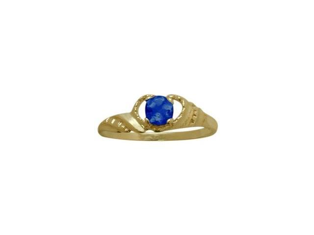 14 Karat Yellow Gold Created Sapphire Gemstone Baby Ring - SIZE 3