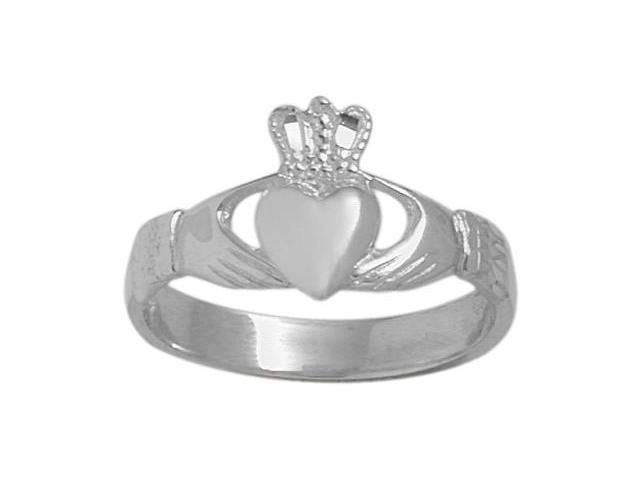 Sterling Silver High Polish Celtic Claddagh Ring - 8