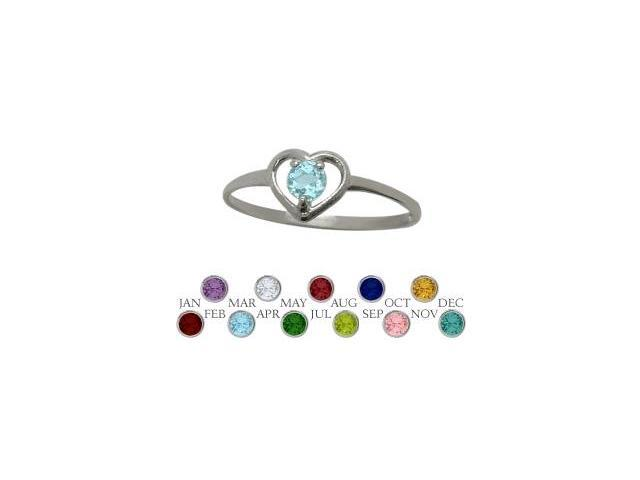 10 Karat White Gold Genuine Blue Topaz Solitaire Gem Round Shape Baby Ring - SIZE 4